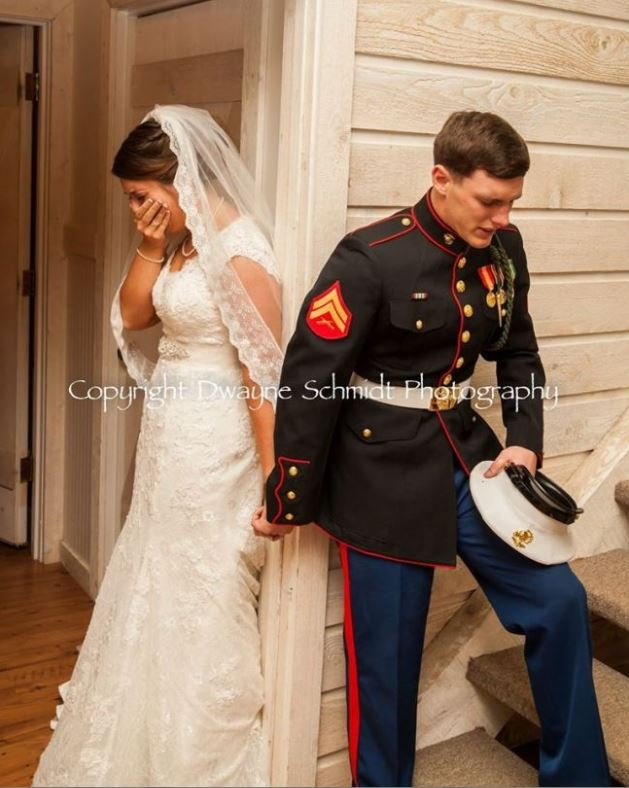 Emotional photo of Marine praying with soon-to-be wife goes viral